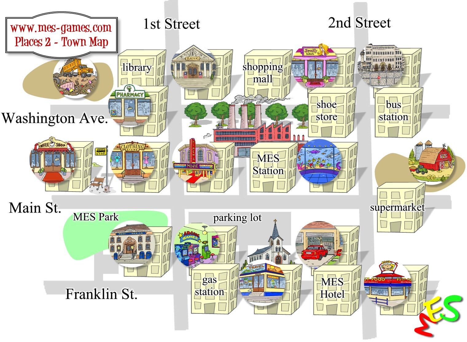 Students will need this city map to complete the grammar exercises: